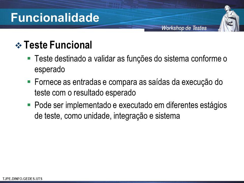 Funcionalidade Teste Funcional