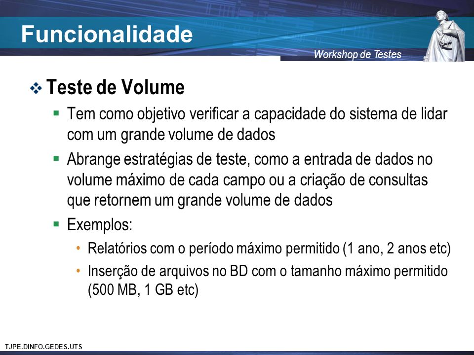 Funcionalidade Teste de Volume