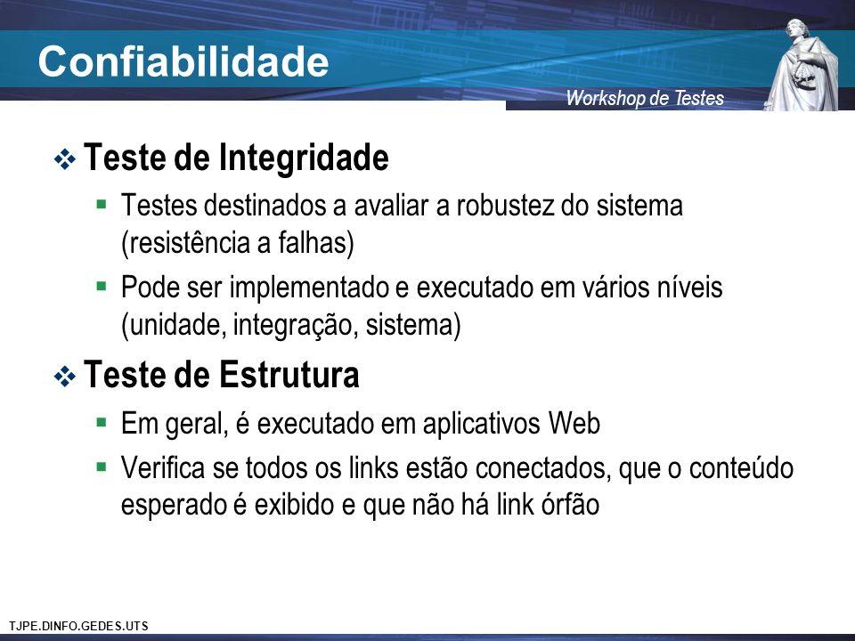 Confiabilidade Teste de Integridade Teste de Estrutura