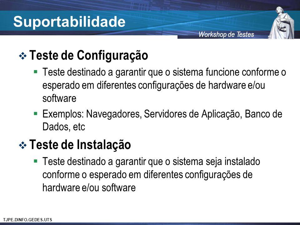 Suportabilidade Teste de Configuração Teste de Instalação