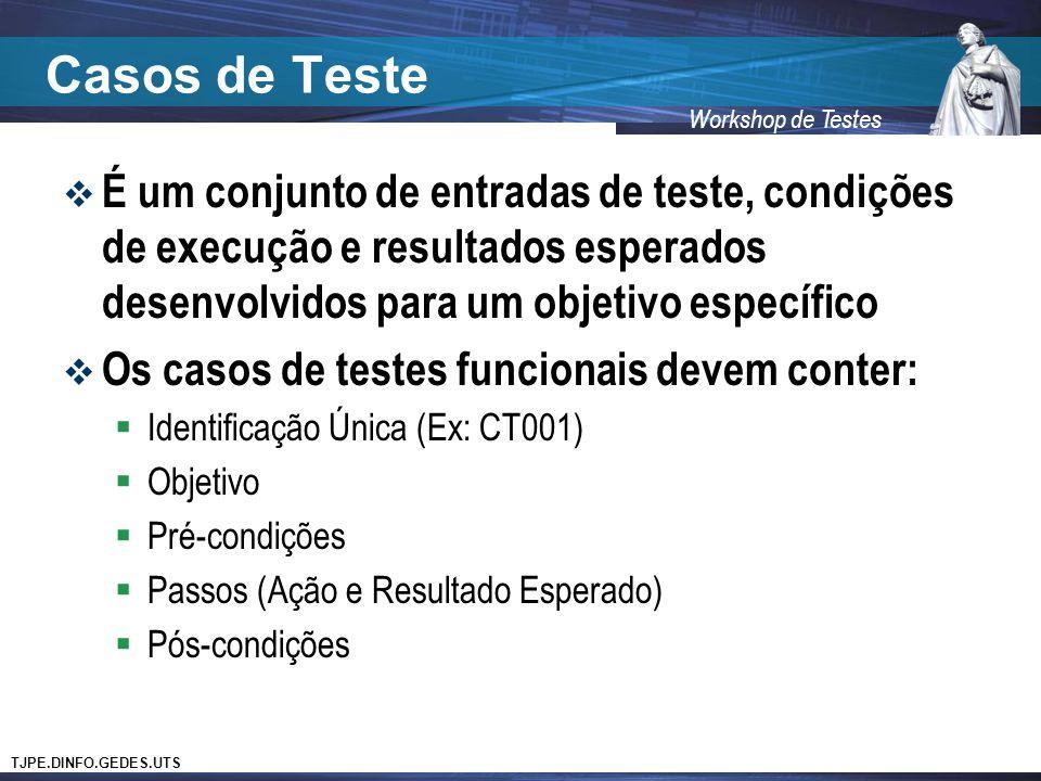 Casos de Teste É um conjunto de entradas de teste, condições de execução e resultados esperados desenvolvidos para um objetivo específico.