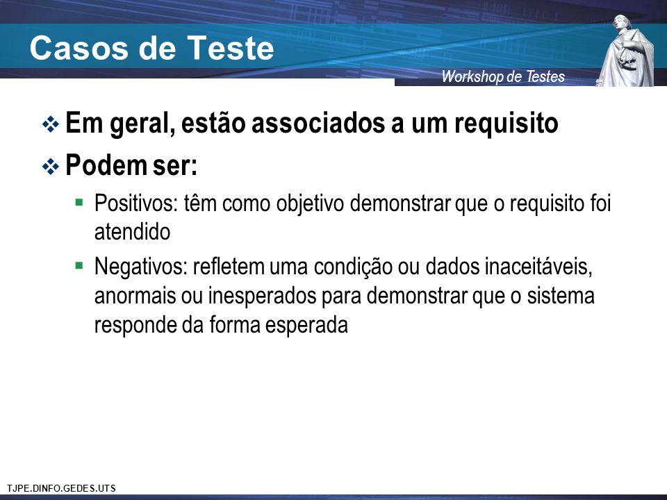 Casos de Teste Em geral, estão associados a um requisito Podem ser: