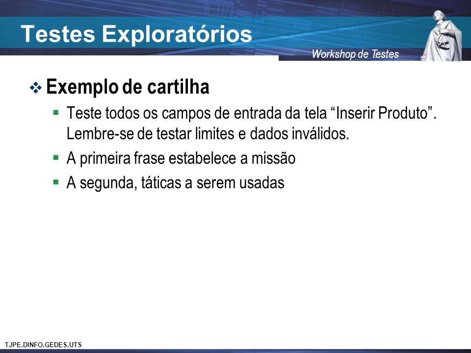 Testes Exploratórios Exemplo de cartilha