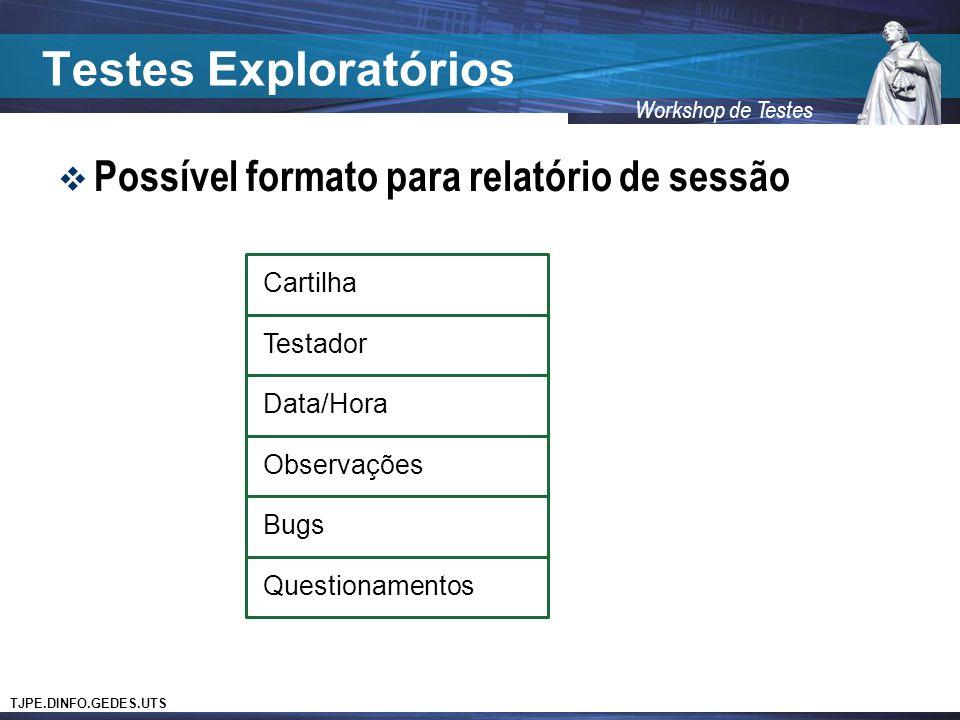 Testes Exploratórios Possível formato para relatório de sessão