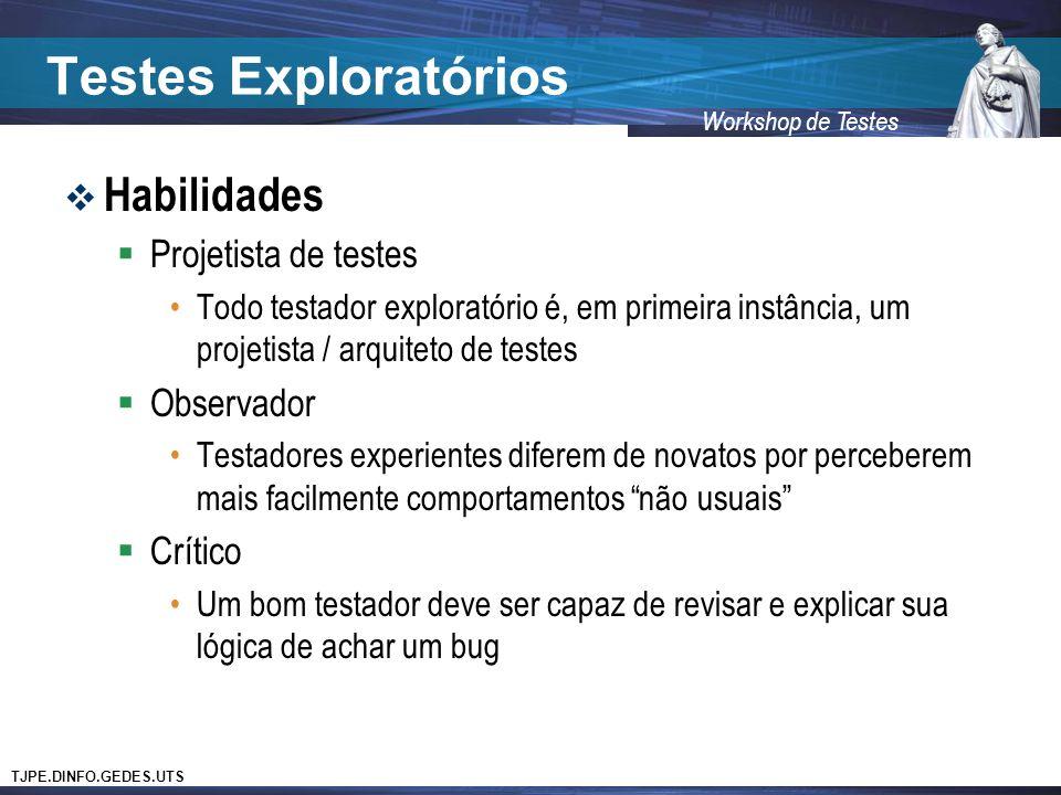 Testes Exploratórios Habilidades Projetista de testes Observador