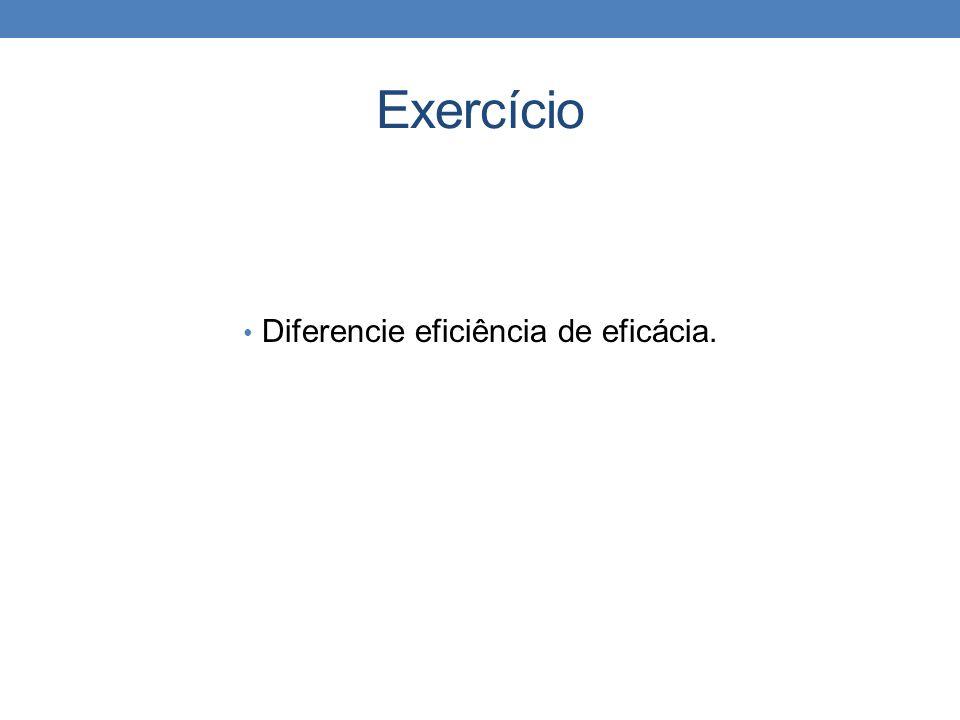 Diferencie eficiência de eficácia.