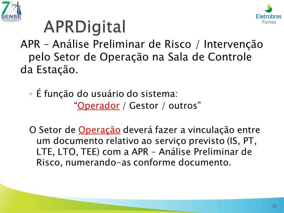 APRDigital APR – Análise Preliminar de Risco / Intervenção pelo Setor de Operação na Sala de Controle.