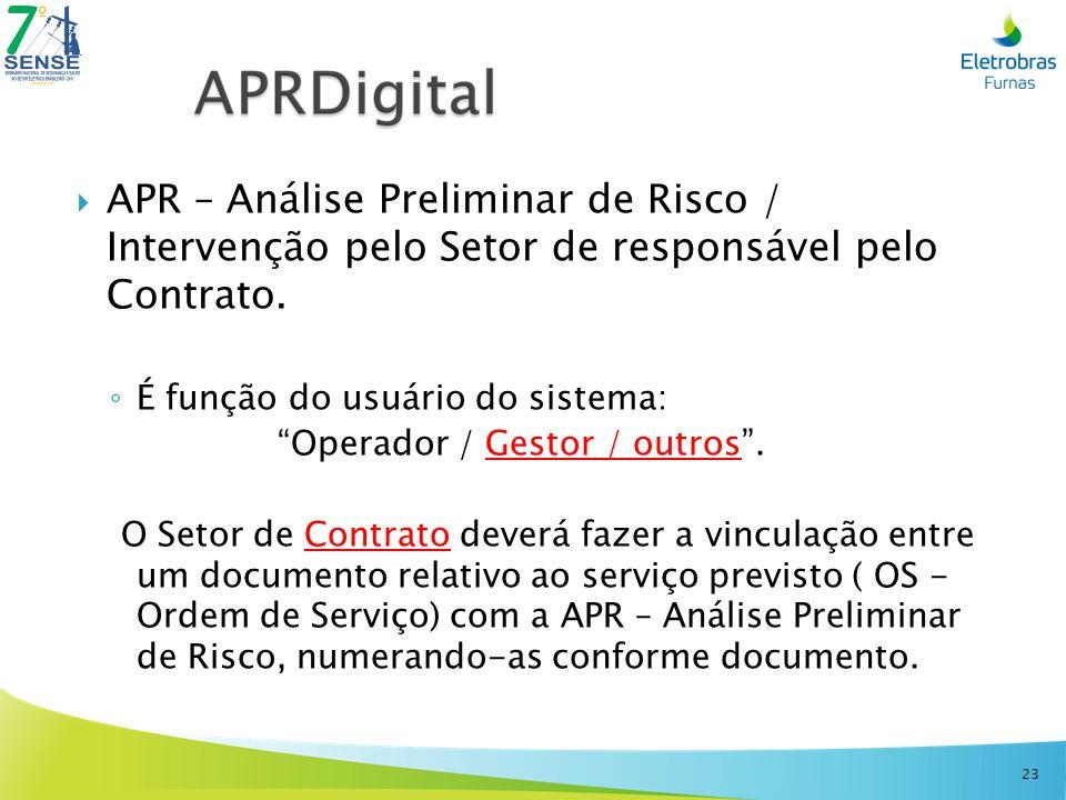 APR – Análise Preliminar de Risco / Intervenção pelo Setor de responsável pelo Contrato.