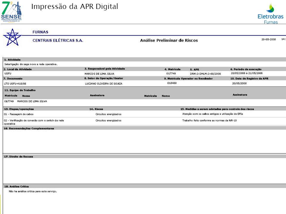 Impressão da APR Digital