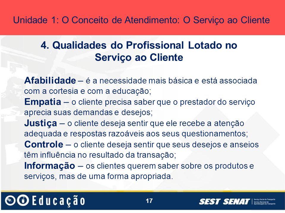 4. Qualidades do Profissional Lotado no Serviço ao Cliente