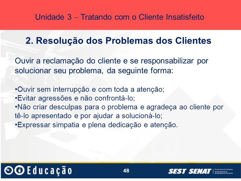 2. Resolução dos Problemas dos Clientes