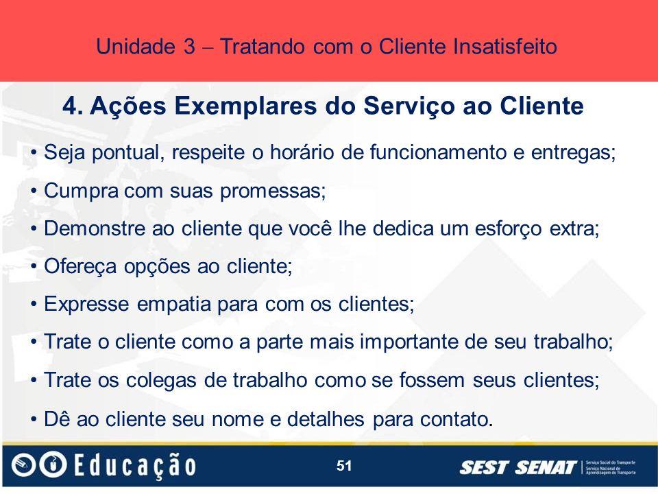 4. Ações Exemplares do Serviço ao Cliente