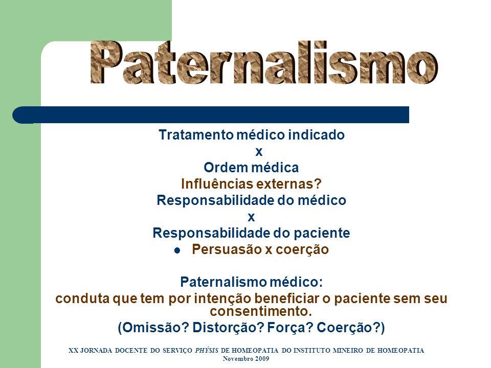 Paternalismo Tratamento médico indicado x Ordem médica