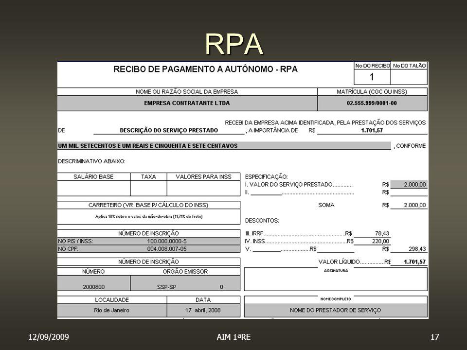 RPA 12/09/2009 AIM 1ªRE