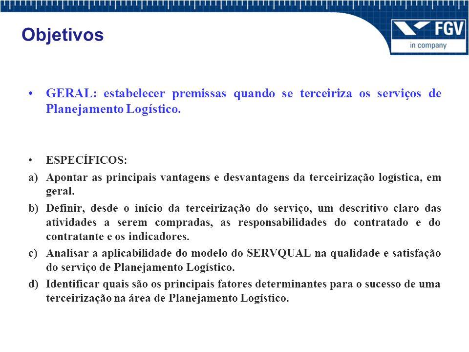 Objetivos GERAL: estabelecer premissas quando se terceiriza os serviços de Planejamento Logístico. ESPECÍFICOS:
