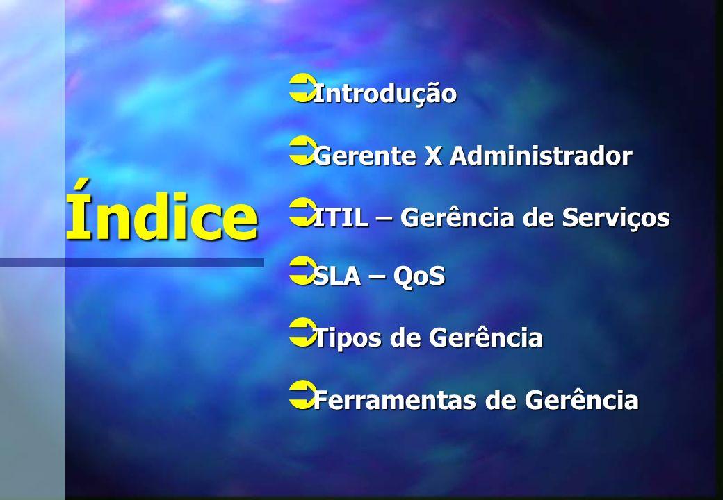 Índice Introdução Gerente X Administrador ITIL – Gerência de Serviços