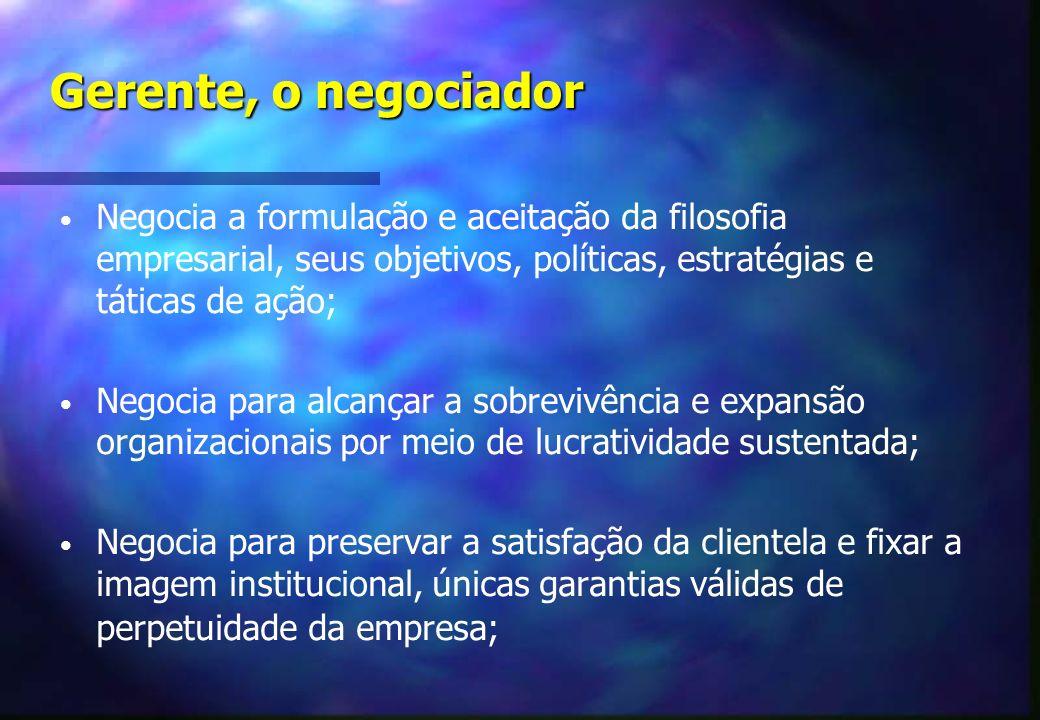 Gerente, o negociador Negocia a formulação e aceitação da filosofia empresarial, seus objetivos, políticas, estratégias e táticas de ação;
