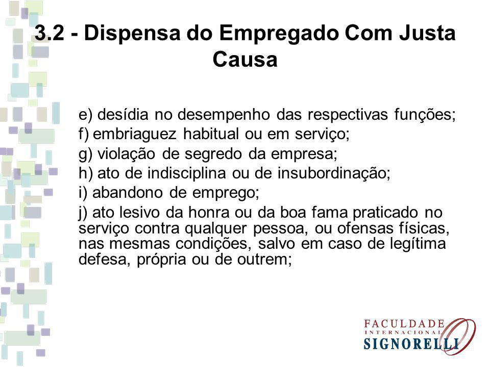 3.2 - Dispensa do Empregado Com Justa Causa