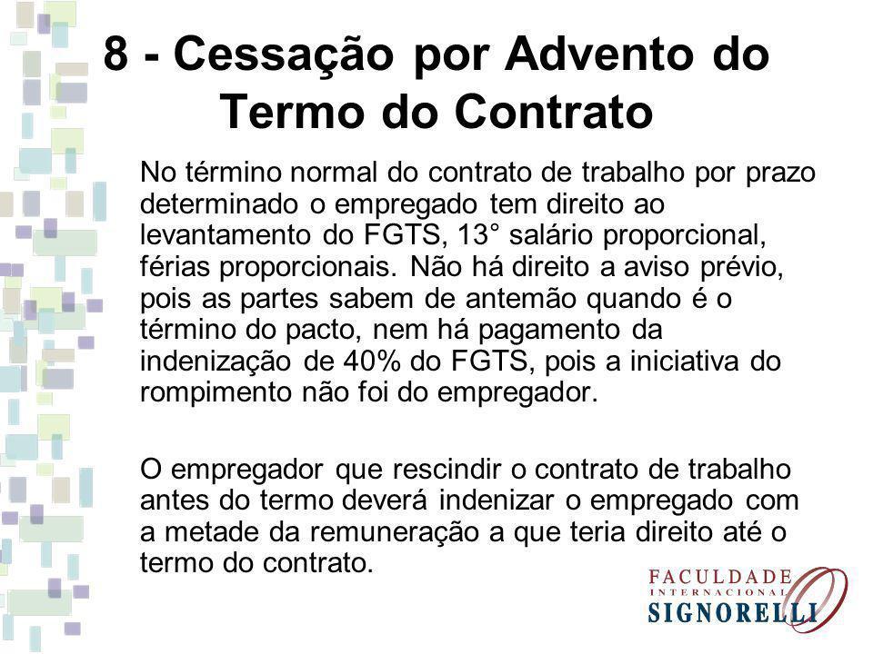 8 - Cessação por Advento do Termo do Contrato