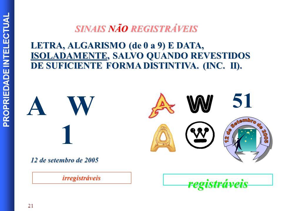 A W 1 51 12 de Setembro de 2005 registráveis SINAIS NÃO REGISTRÁVEIS