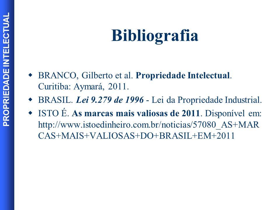 Bibliografia BRANCO, Gilberto et al. Propriedade Intelectual. Curitiba: Aymará, 2011. BRASIL. Lei 9.279 de 1996 - Lei da Propriedade Industrial.