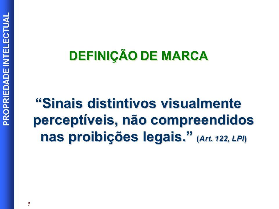 DEFINIÇÃO DE MARCA Sinais distintivos visualmente perceptíveis, não compreendidos nas proibições legais. (Art.
