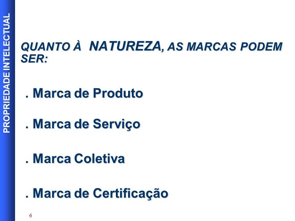 QUANTO À NATUREZA, AS MARCAS PODEM SER: