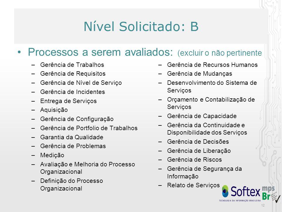 Nível Solicitado: B Processos a serem avaliados: (excluir o não pertinente. Gerência de Trabalhos.