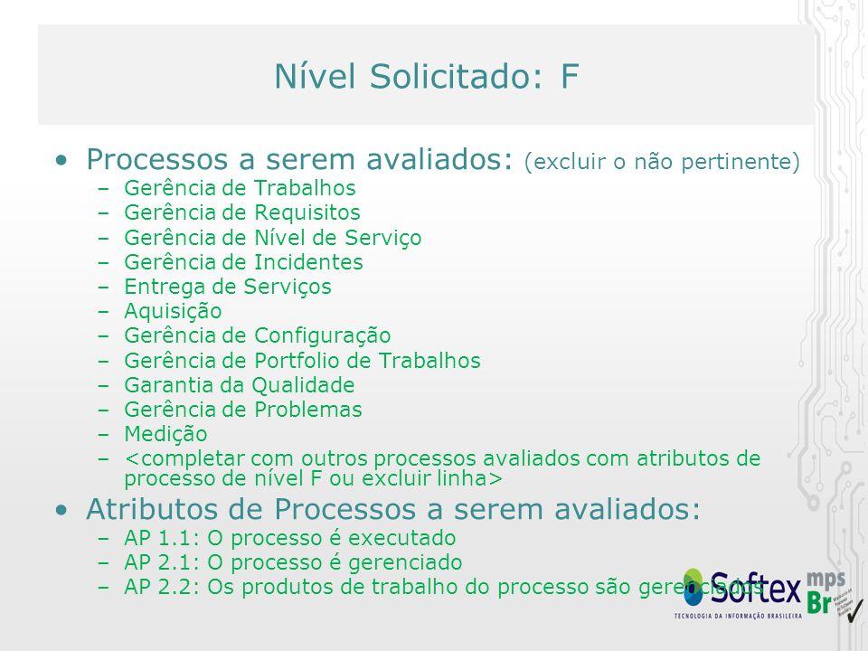 Nível Solicitado: F Processos a serem avaliados: (excluir o não pertinente) Gerência de Trabalhos.