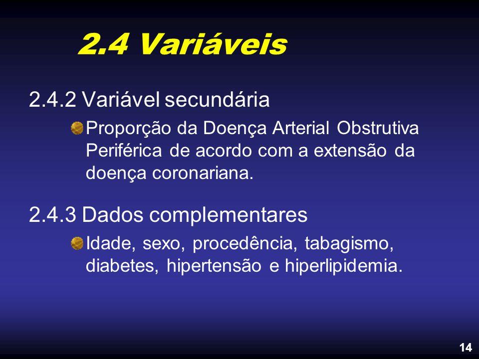 2.4 Variáveis 2.4.2 Variável secundária 2.4.3 Dados complementares