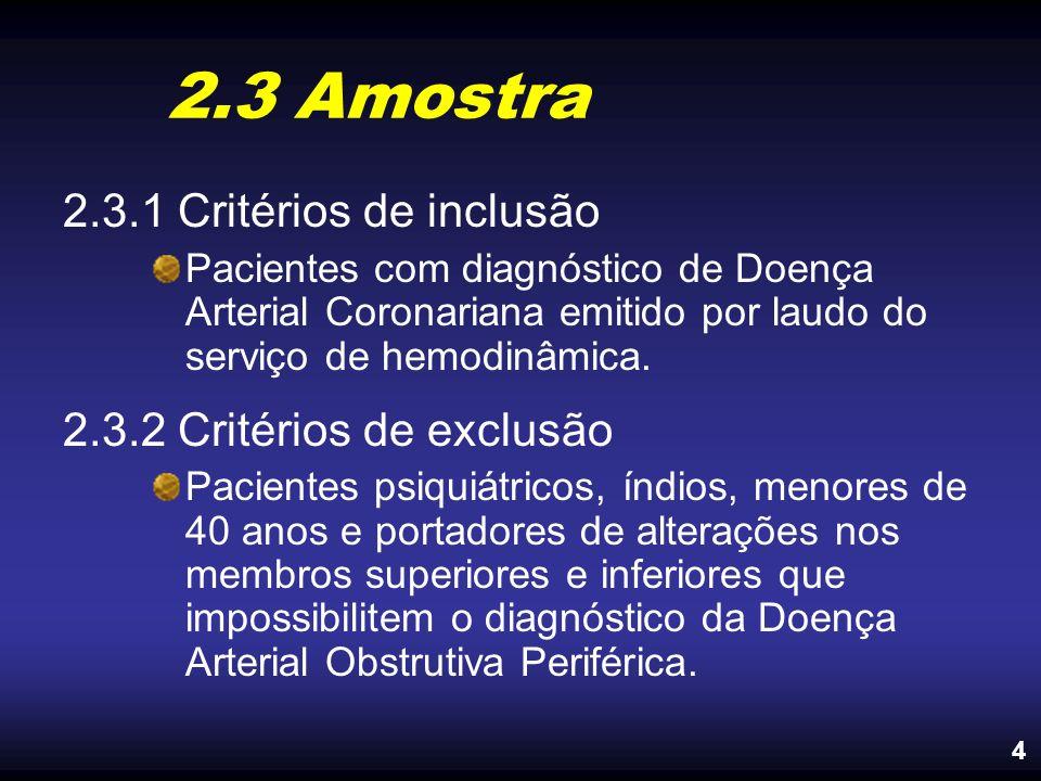 2.3 Amostra 2.3.1 Critérios de inclusão 2.3.2 Critérios de exclusão