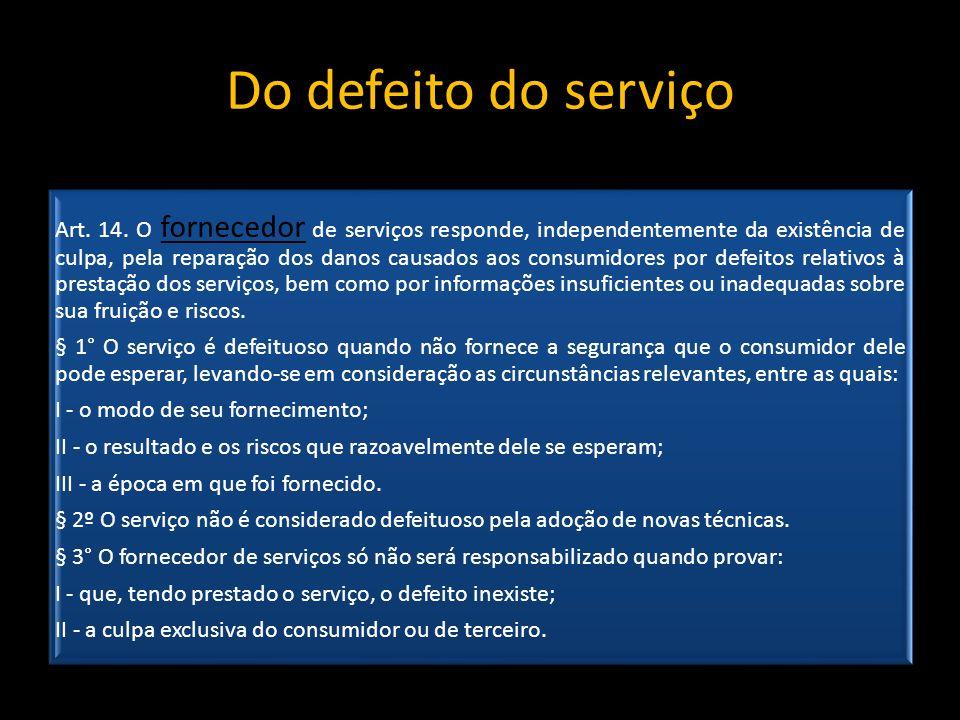 Do defeito do serviço