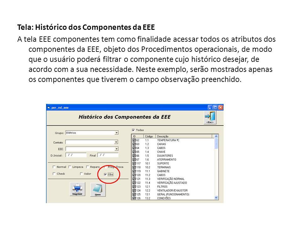 Tela: Histórico dos Componentes da EEE