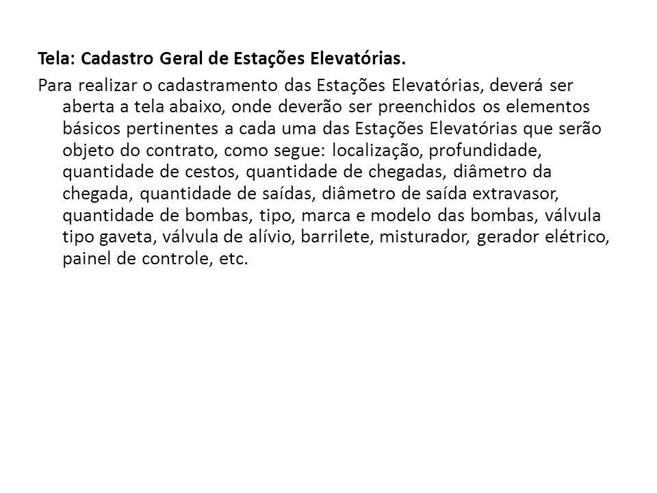 Tela: Cadastro Geral de Estações Elevatórias