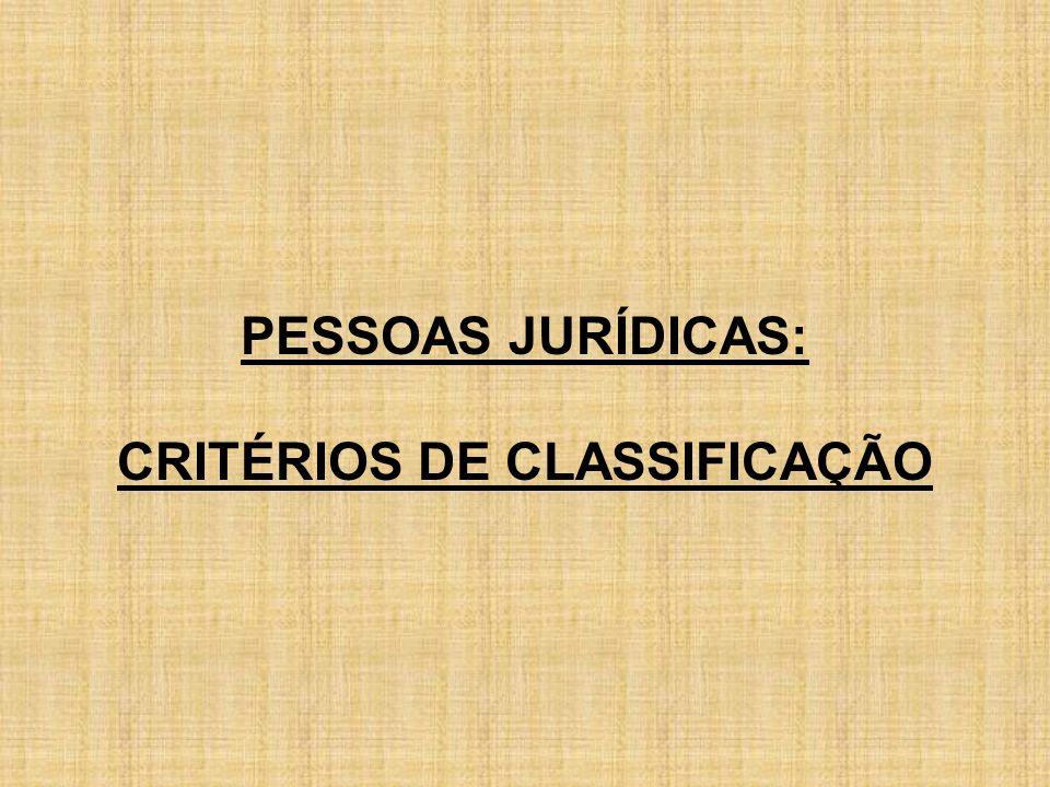PESSOAS JURÍDICAS: CRITÉRIOS DE CLASSIFICAÇÃO