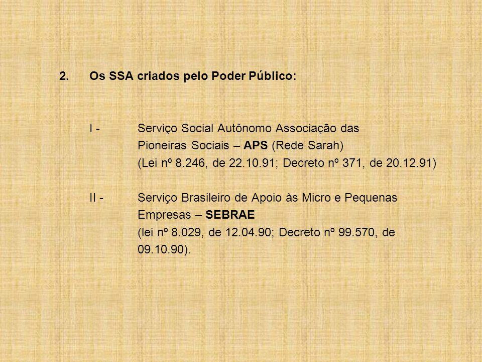 2. Os SSA criados pelo Poder Público: