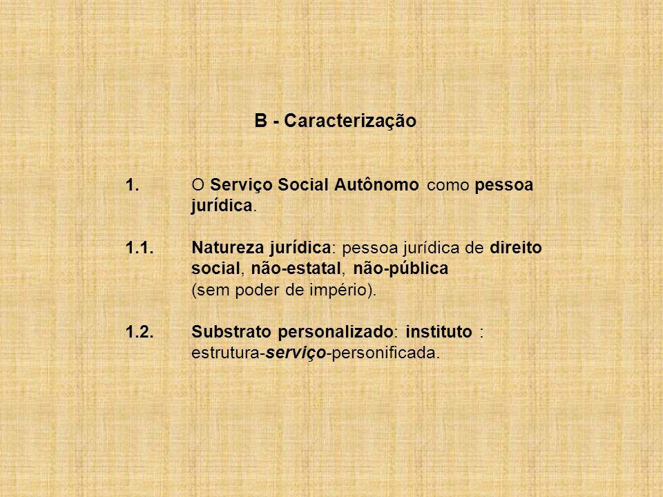 B - Caracterização 1. O Serviço Social Autônomo como pessoa jurídica.