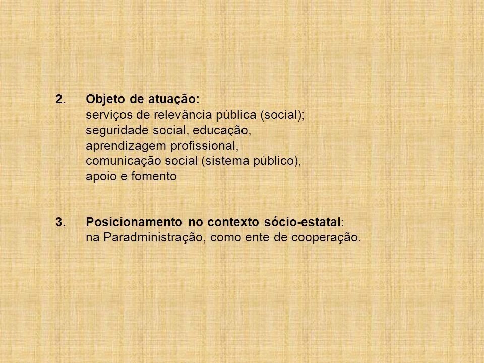 2. Objeto de atuação: serviços de relevância pública (social); seguridade social, educação, aprendizagem profissional,