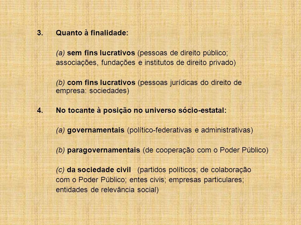 (a) sem fins lucrativos (pessoas de direito público;