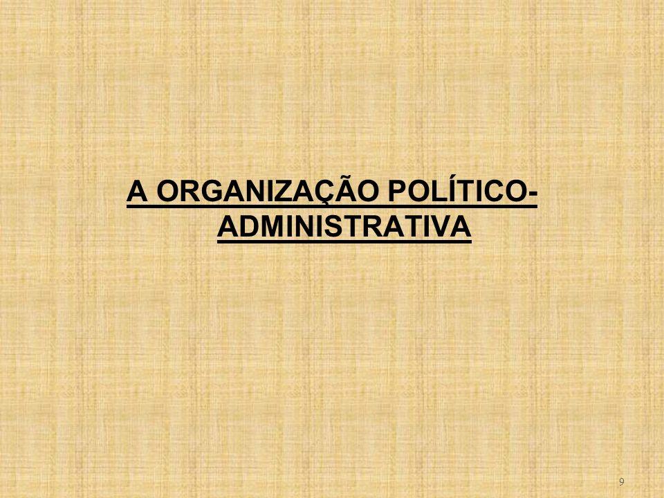 A ORGANIZAÇÃO POLÍTICO-ADMINISTRATIVA