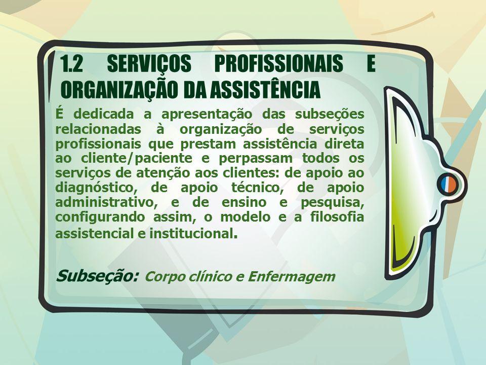 1.2 SERVIÇOS PROFISSIONAIS E ORGANIZAÇÃO DA ASSISTÊNCIA