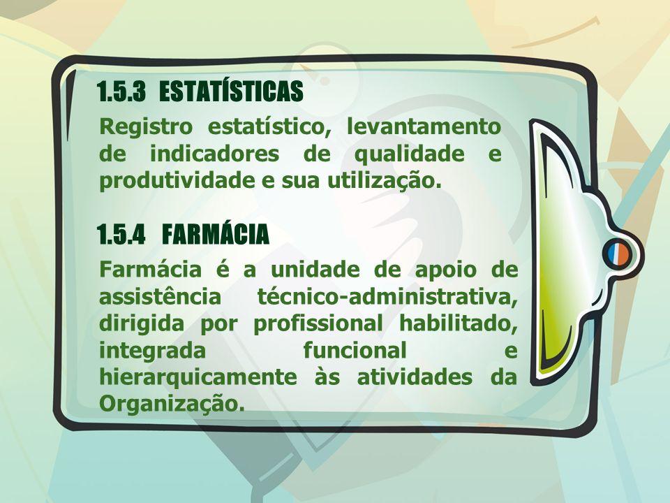1.5.3 ESTATÍSTICAS 1.5.4 FARMÁCIA