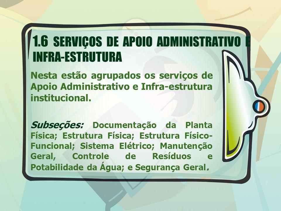 1.6 SERVIÇOS DE APOIO ADMINISTRATIVO E INFRA-ESTRUTURA