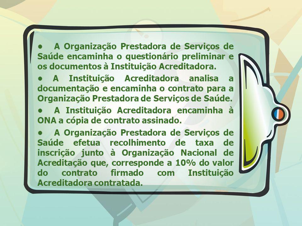 • A Organização Prestadora de Serviços de Saúde encaminha o questionário preliminar e os documentos à Instituição Acreditadora.