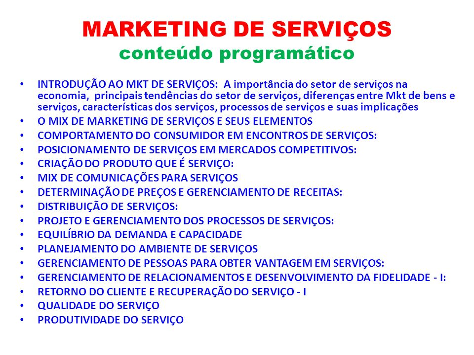 MARKETING DE SERVIÇOS conteúdo programático