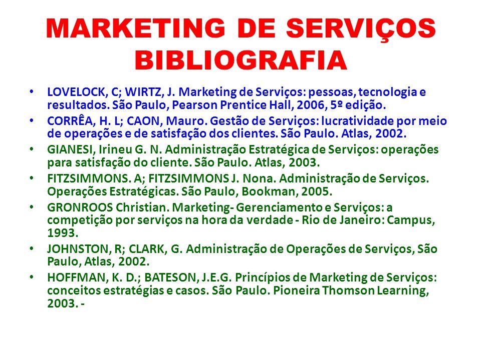 MARKETING DE SERVIÇOS BIBLIOGRAFIA