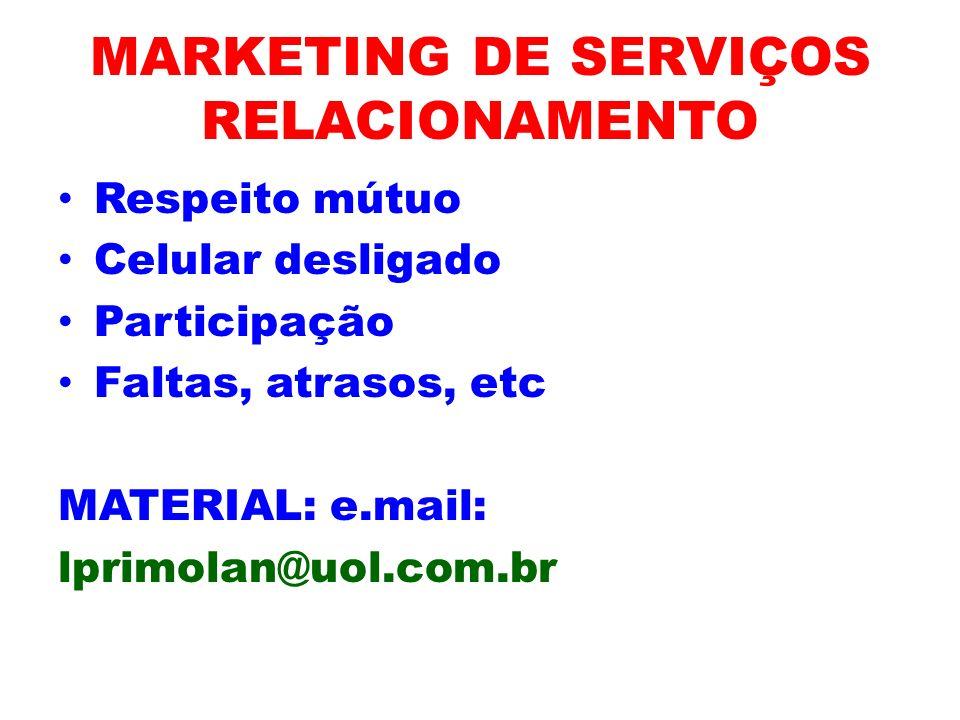 MARKETING DE SERVIÇOS RELACIONAMENTO