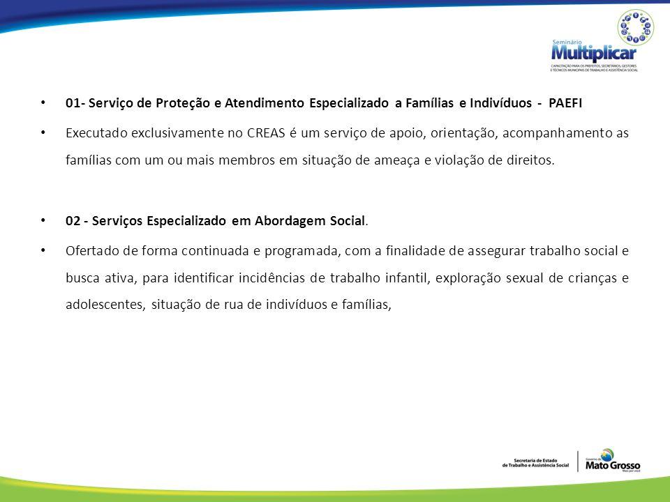 01- Serviço de Proteção e Atendimento Especializado a Famílias e Indivíduos - PAEFI