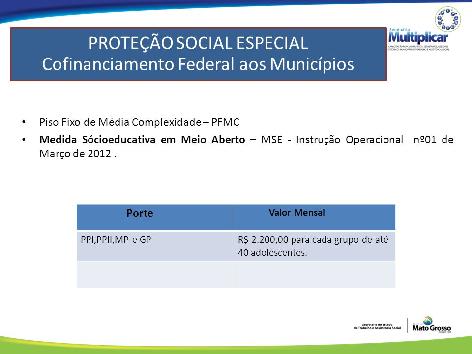PROTEÇÃO SOCIAL ESPECIAL Cofinanciamento Federal aos Municípios