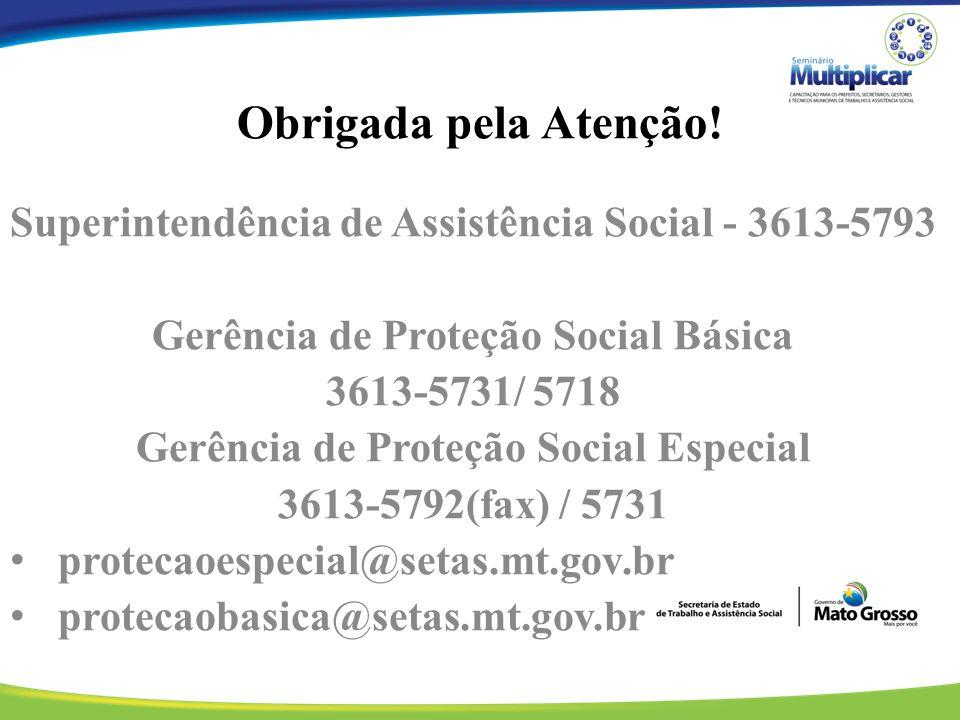 Obrigada pela Atenção! Superintendência de Assistência Social - 3613-5793. Gerência de Proteção Social Básica.